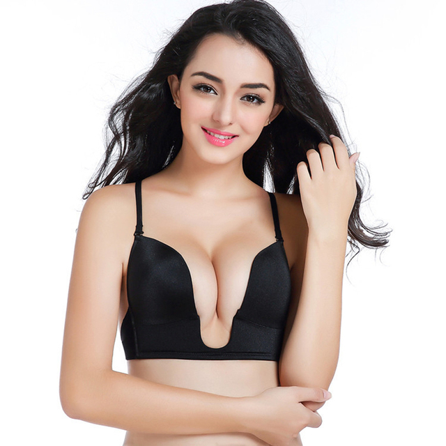 4230192774 Black Friday Deals Plunge U Women Bras Sexy Seamless invisible bra Straps  Summer Sutian Cleavage Push Up Bra Fly Backless