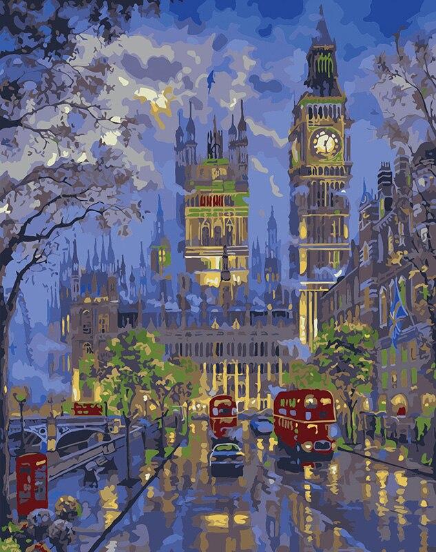 París Londres vista nocturna pintura por números cuadro modular pintura al óleo DIY en lona inicio cuadros decoración pared arte 40X50 cm