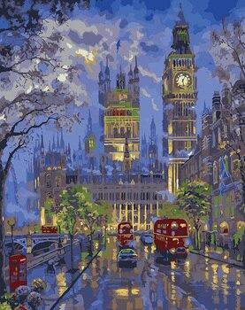 Paris London nacht ansicht malerei Durch Zahlen bild modulare DIY Ölgemälde Auf Leinwand Hause cuadros Decor Wand Kunst 40X50 cm