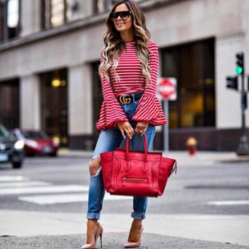 2017 moda feminina vintage branco e vermelho listrado camisa blusas mistura de algodão topos retro roupas alargamento manga camisas femininas