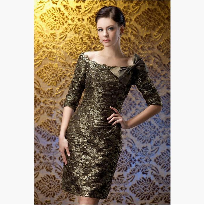 Elegant Sheath Scoop Half Sleeves Knee Length Lace Dark Gray Short Women Party Short font b