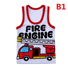 Summer Children Cotton Vests Kids Casual Sleeveless T Shirts For Boys Girls Sport Vests Cartoon Cars
