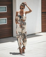 Women Backless Tunic Jumpsuit V Neck Spaghetti Strap Playsuit Print Plus Size Long Rompers fashionable ethnic style print spaghetti strap jumpsuit for women