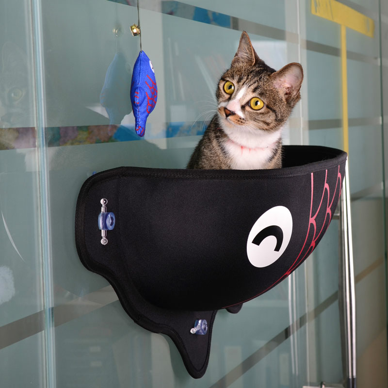 Cat Window Bed Cat Lounger Bed Hammock Sofa Mat Lounger Perch Cushion Hanging Shelf Seat with Suction Cup for Ferret Chinchilla 23