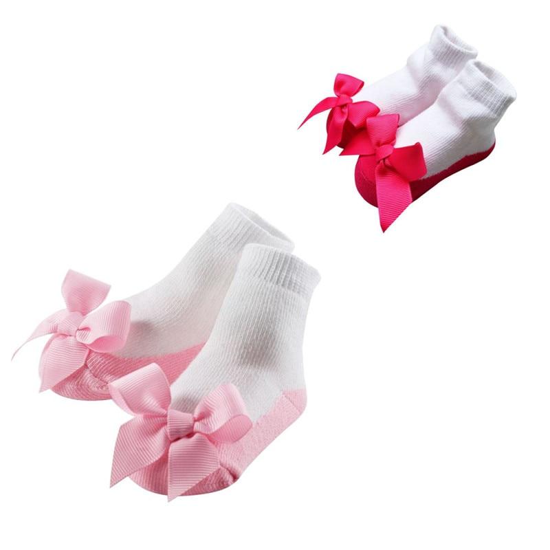 3 Pairs Cute Baby Girl Flower Princess Style Anti-slip Socks Bow Lace Floor Sock