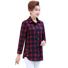 цена на Woman Casual Shirt Red Green Plaid Pattern Blouse Female Check Print Cotton Tops Women Leisure Long Sleeve Button Front Shirts