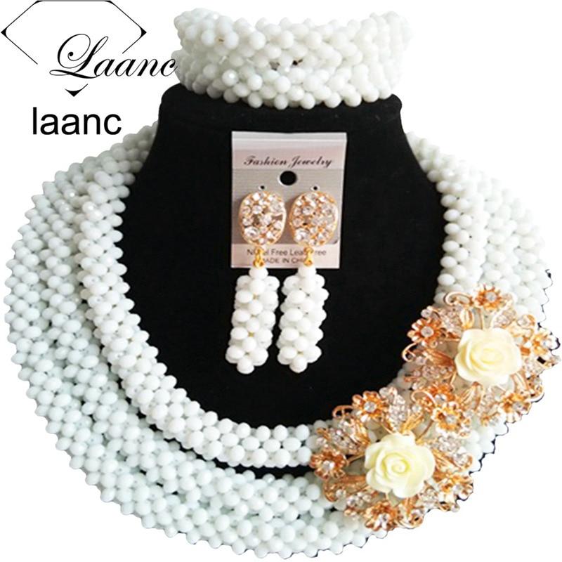 Laanc Chunky White Crystal Nigerian Beaded Wedding Necklace African Beads Jewelry Set Women AL591 все цены