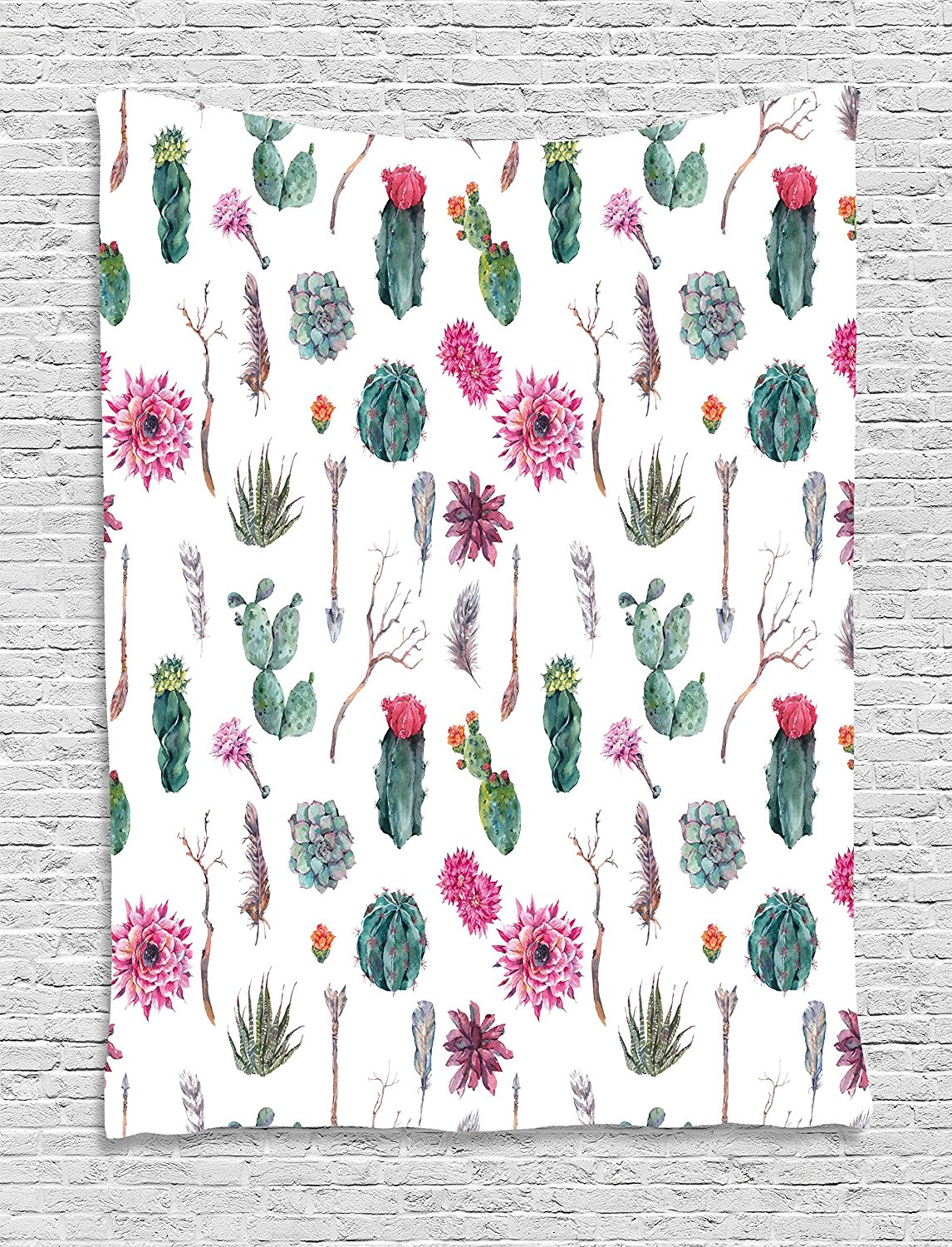 Cactus Decor Tapestry Vintage Botanical Pattern Arrows Feathers