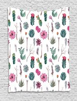 Cactus Decor Tapestry Vintage Botanical Pattern Arrows Feathers Succulent Twigs Hawaii Spring Tropic, Wall Hanging