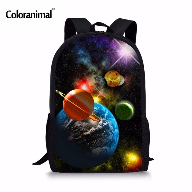 Coloranimal Universe Planet Printing Kids School Bags Hot Children  Schoolbag Students 3D Galaxy Backpack for Boys