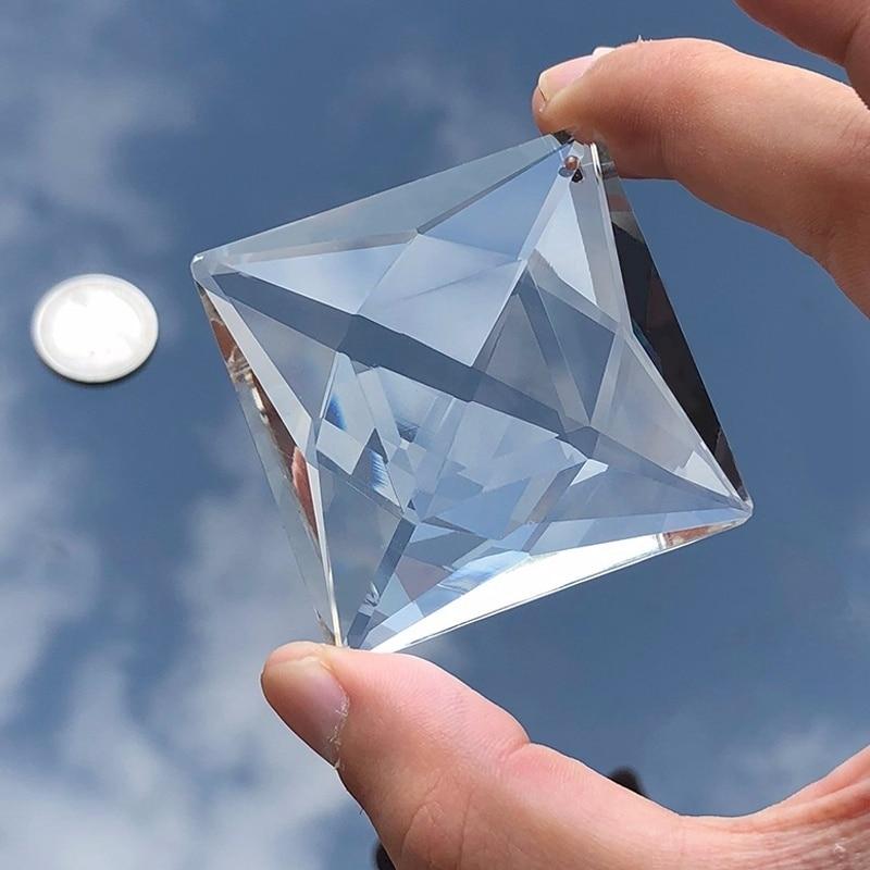 50MM Hanging Suncatcher Prism DIY Pendant Decoration Chandelier Crystal Part Faceted Rhombus Glass Artware Photo Filter