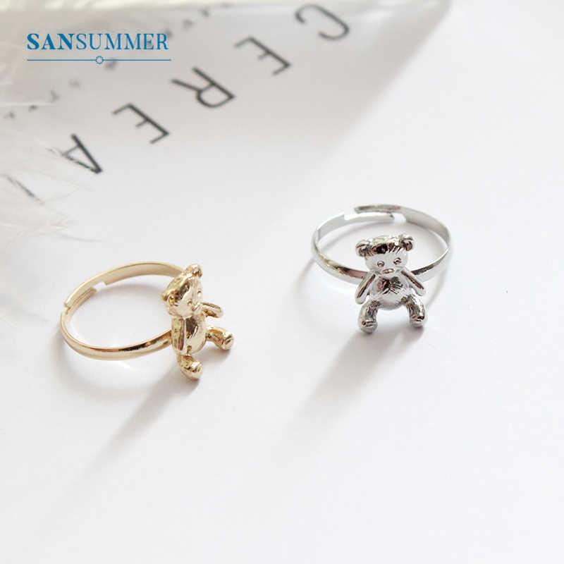 SANSUMMER Women Rings Temperament Cute Wild Simple Bear Rings Romantic Designer Jewelry Luxury Animal Trendy Rings 6784