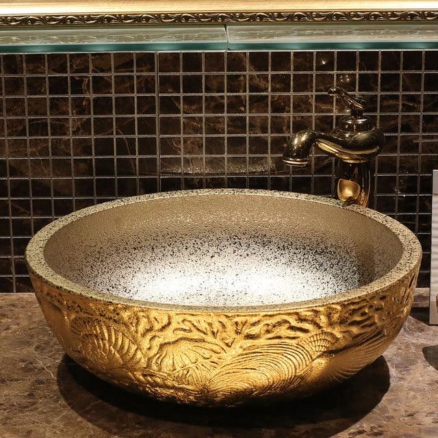 Artistic Handmade Europe Vintage Lavabo Washbasin Ceramic Bathroom ...