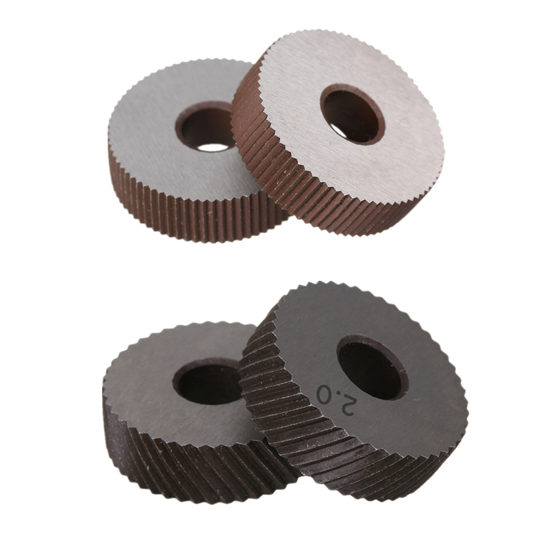 2PCS High Speed Steel 0.6mm/0.8mm/1.0mm/1.2mm/1.5mm/1.8mm/2.0mm Pitch Tool Straight /Diagonal Coarse Knurl Wheel Knurling Roller