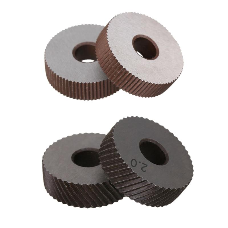 2PCS High Speed Steel 0.6mm/0.8mm/1.0mm/1.2mm/1.5mm/1.8mm/2.0mm Pitch Tool Straight /Diagonal Coarse Knurl Wheel Knurling Roller