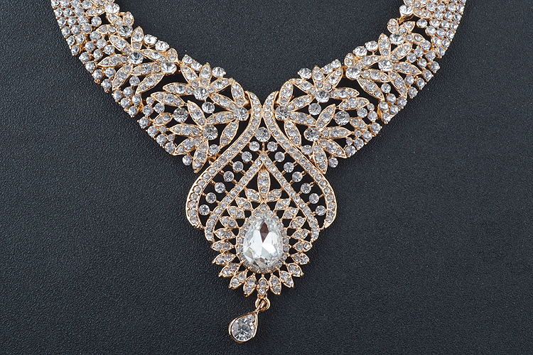 Statement India style Necklace earrings sets Bridal wedding Party Necklace Water Drop Type Golden Plated Crystal Jewelry Sets 13