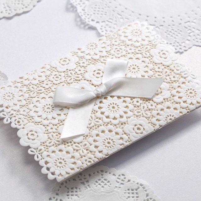 Aliexpress buy lace wedding invitations elegant embossed white lace wedding invitations elegant embossed white ribbon butterfly envelope paper printing custom wedding invitation cards cw5059 filmwisefo
