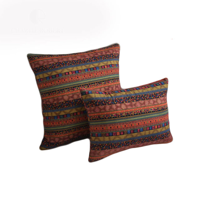 ACTIONCLUB National Flavor Cushions Cover For Sofa Cushion Hot Sale Striped  Throw Pillows Cover Special Design