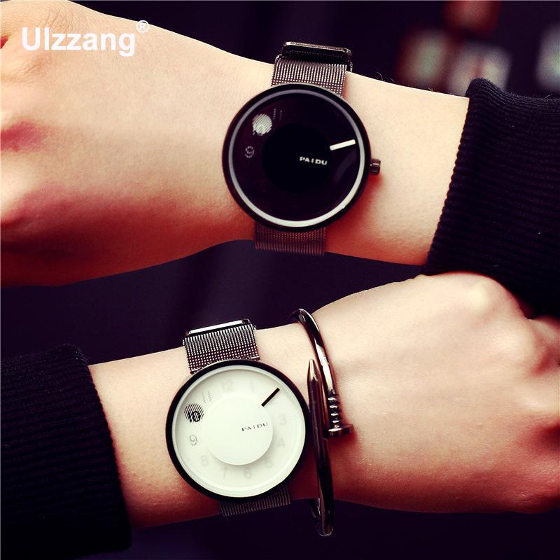где купить New Finger Print Paidu Full Web Stainless Steel Quartz Watch Men Watches Mesh Band Wrist Watch Relogio Masculino по лучшей цене