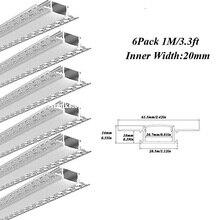 6 шт 1 м led гипсокартон алюминиевый профиль с 20 мм Внутренний размер для led светильник полосы с установкой посылка