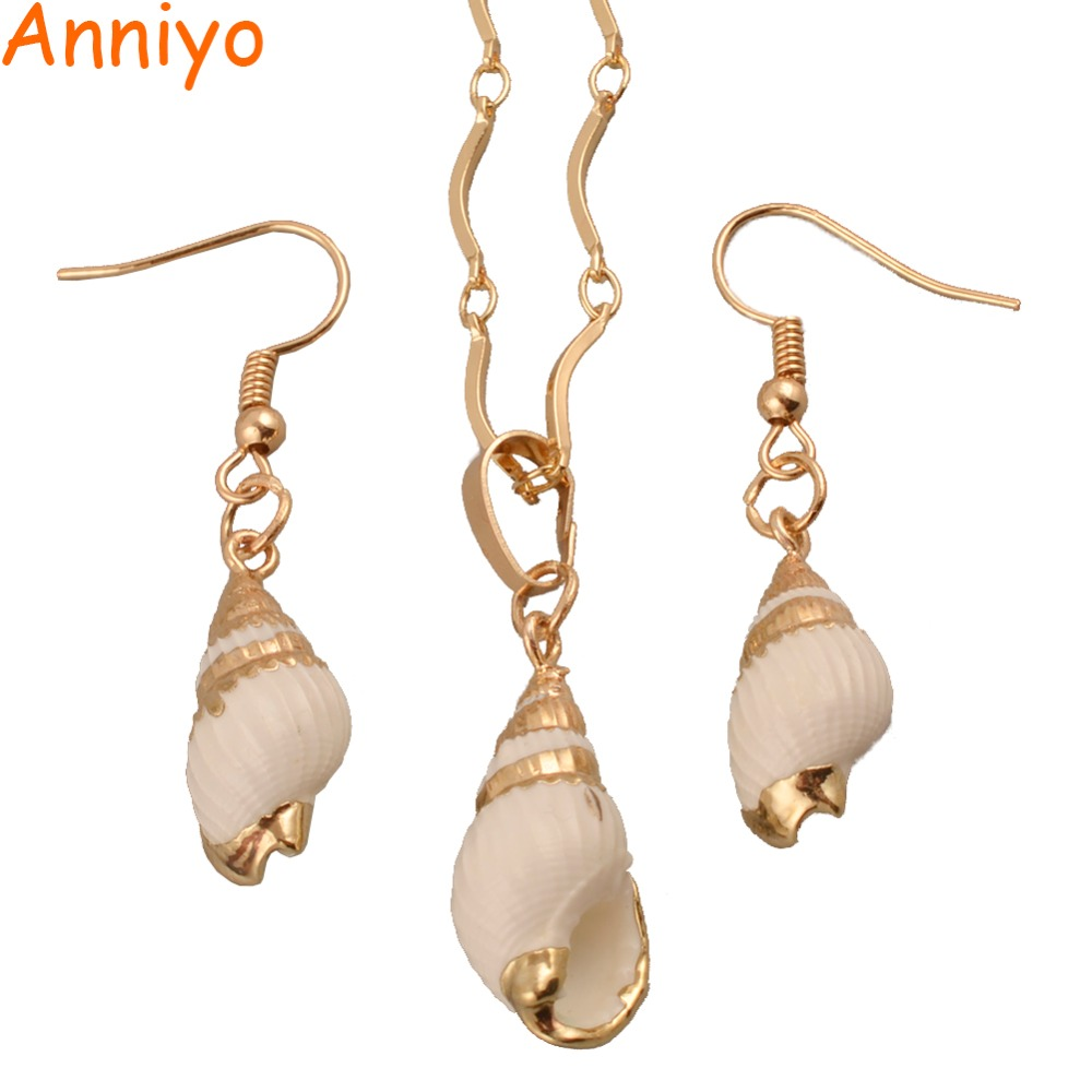 Anniyo New Arrival Shell Pendant Necklaces/Earrings PNG Papua New Guinea Shellfish Islands Jewelry sets #114806 миксер galaxy gl2201