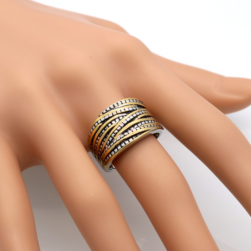 Low price Cross gear wide face Finger Rings for women men, Retro vintage stainless steel rope shape rings color gold anel