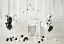 Laeacco Gray Chic Wall Balloons Fireplace Baby Birthday Party Celebration Photo Backdrops Photography Backgrounds Studio
