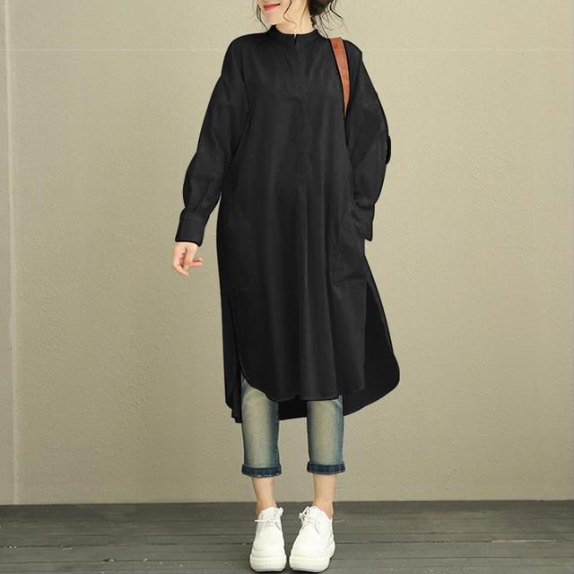 ZANZEA Fashion Autumn Shirt Dress Women Female Retro Loose Batwing Sleeve Mid Length Side Slit Asymmetry Hem Baggy Kaftan Dress