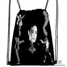 Custom Michael Jackson@02  Drawstring Backpack Bag Cute Daypack Kids Satchel (Black Back) 31x40cm#20180611-02-64