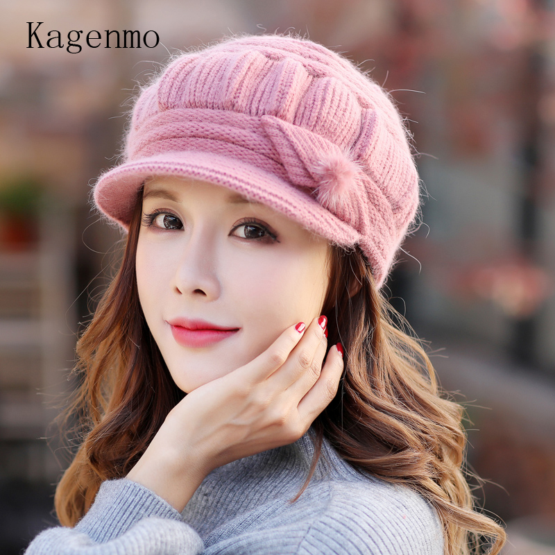 Kagenmo Cap And Scarf Twinset Warm Winter Keep Warm Accessories Rabbit Fur Knit Women Hat Outdoor Windproof Thermal Scarf