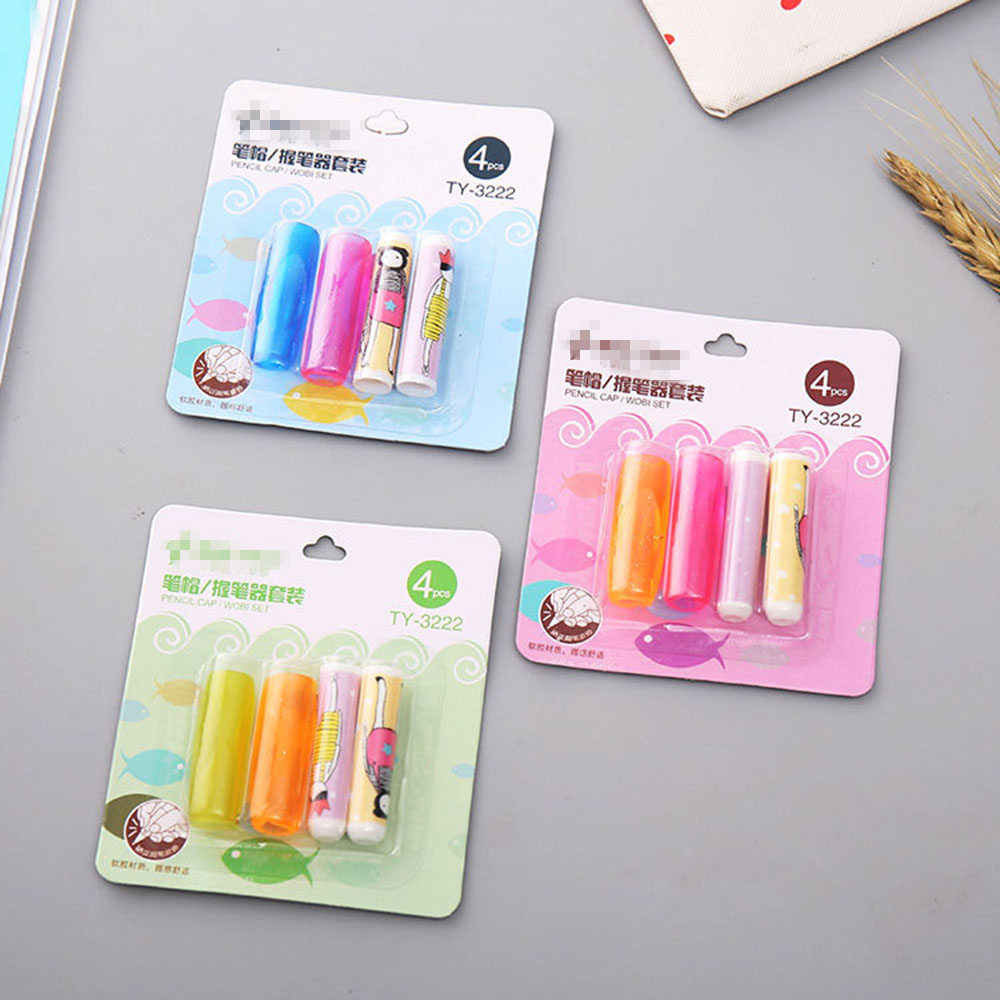1Set Pen Pencil Grip With Cap Special For Left Hand Right Hand Kids Children School Stationery Soft Silicone Handwriting