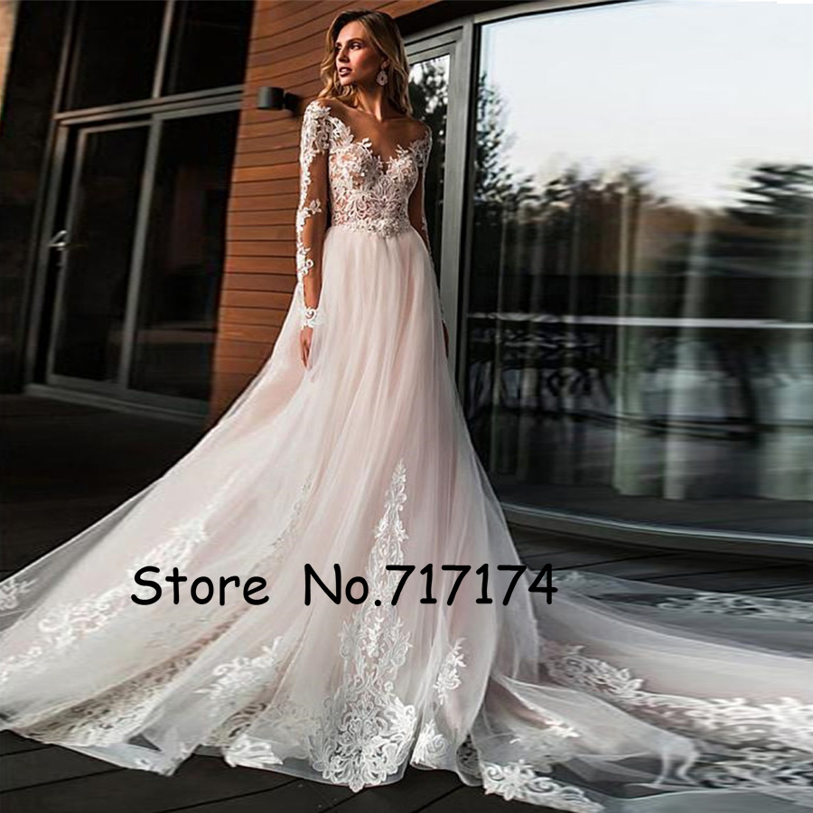 Stunning Tulle Jewel Neckline A-line Wedding Dresses With Beaded Lace Appliques Long Sleeves Bridal Dress Vestido De Festa Curto