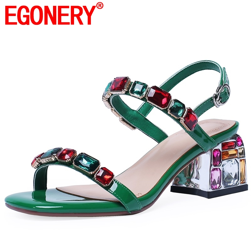EGONERY Fashion sexy 6 cm high heels women s shoes Genuine Patent leather summer woman sandals