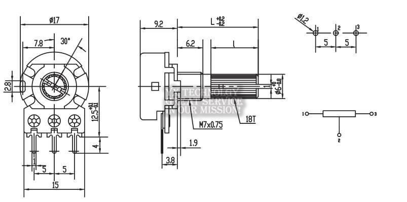 10 шт./пакет WH148 одинарный потенциометр B10K L: 15 мм
