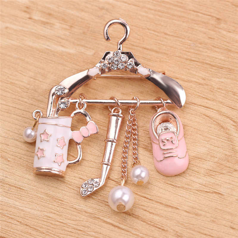 Crystal Red Cute Hanger With Shoes Golf Clubs Brooches For Women Men Lovely Brooches For Women Brooch Pins Jewelry
