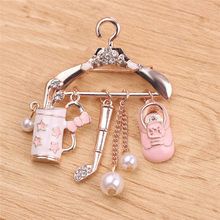 Crystal Red Cute Hanger With Shoes Golf Clubs Brooches For Women Men Lovely Brooches For Women Brooch Pins Jewelry(China)