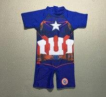 Hot Sale! Protection Baby Beachwear Superhero Costume Boys One Piece Swimsuit Kids Captain America Children's Swimwear P106