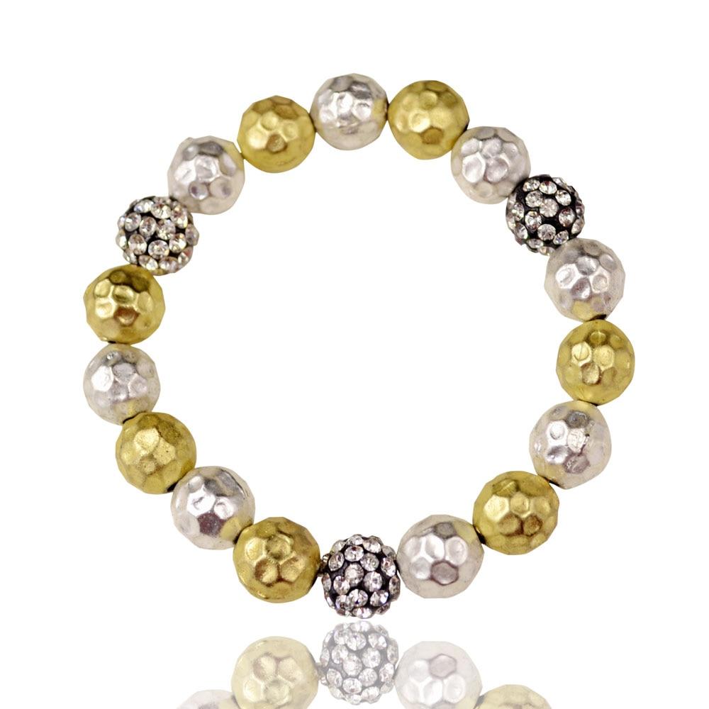High fashion designer brand fireball hammer texture rhinestone stretch bracelets