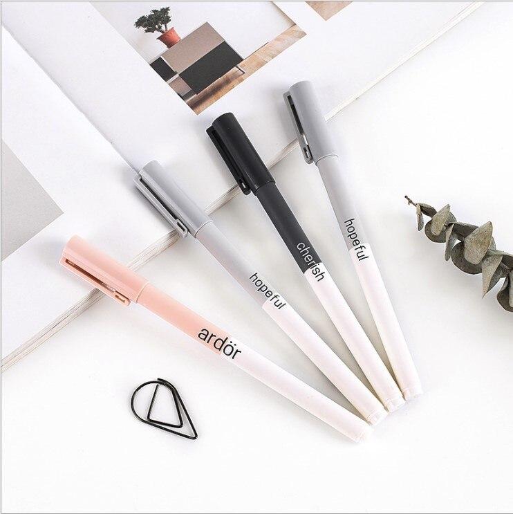 4pcs/set Cute Gel Pens Colored Ink Cat Pen Fresh Kawaii Ballpoint School Canetas Boligrafos Gift Stationery Office Supply 0.5mm