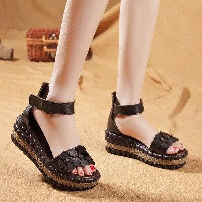 Cuir Bout Nouveau De À 2018 Ouvert Véritable Été Chaussures Loisirs Étanche Romaine Sandales Taiwan Fleurs Femmes Sandale EfEq0Wv