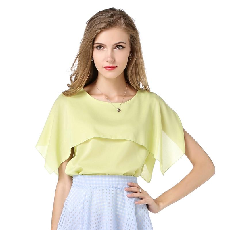 2018 New Solid Yellow  Blouse Women Blusa Chiffon Woman Tops Summer Style Female Yellow Casual Shirt TS04