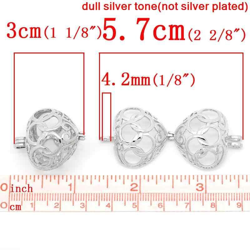 MJARTORIA 3PCs Hollow Charms หัวใจจี้กรงลูกปัดสำหรับสร้อยคอ DIY ผลการค้นหาเครื่องประดับสร้อยคอจี้เงินโทน 3*2.45 ซม.