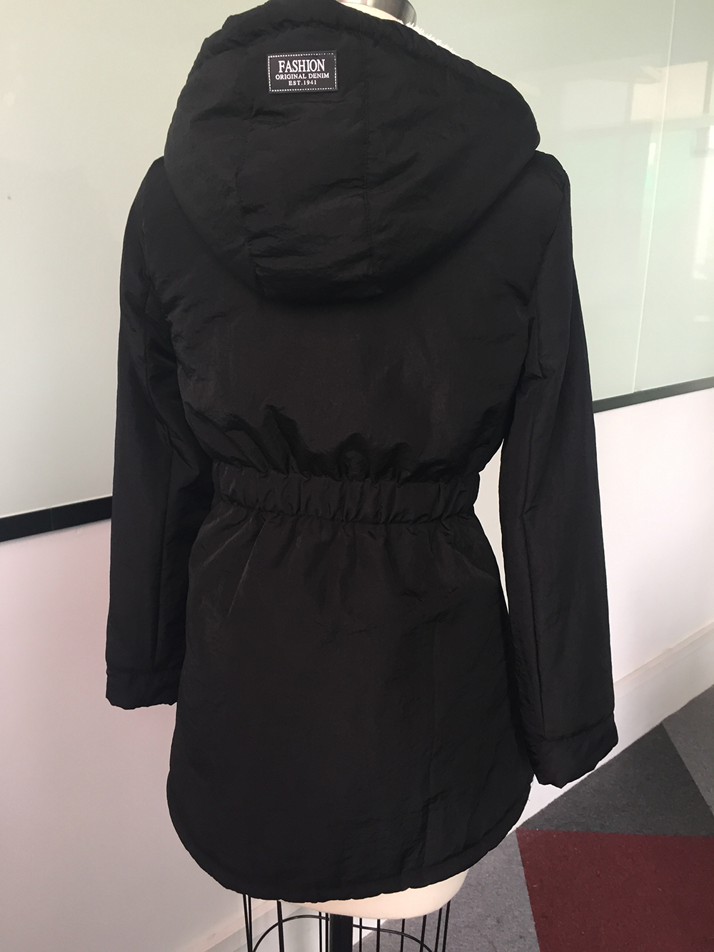 Winter Warm Coat Female Windproof Slim Outerwear Fashion Elastic Waist Zipper Pocket Hooded Drawstring Overcoats Autumn Clothes 3