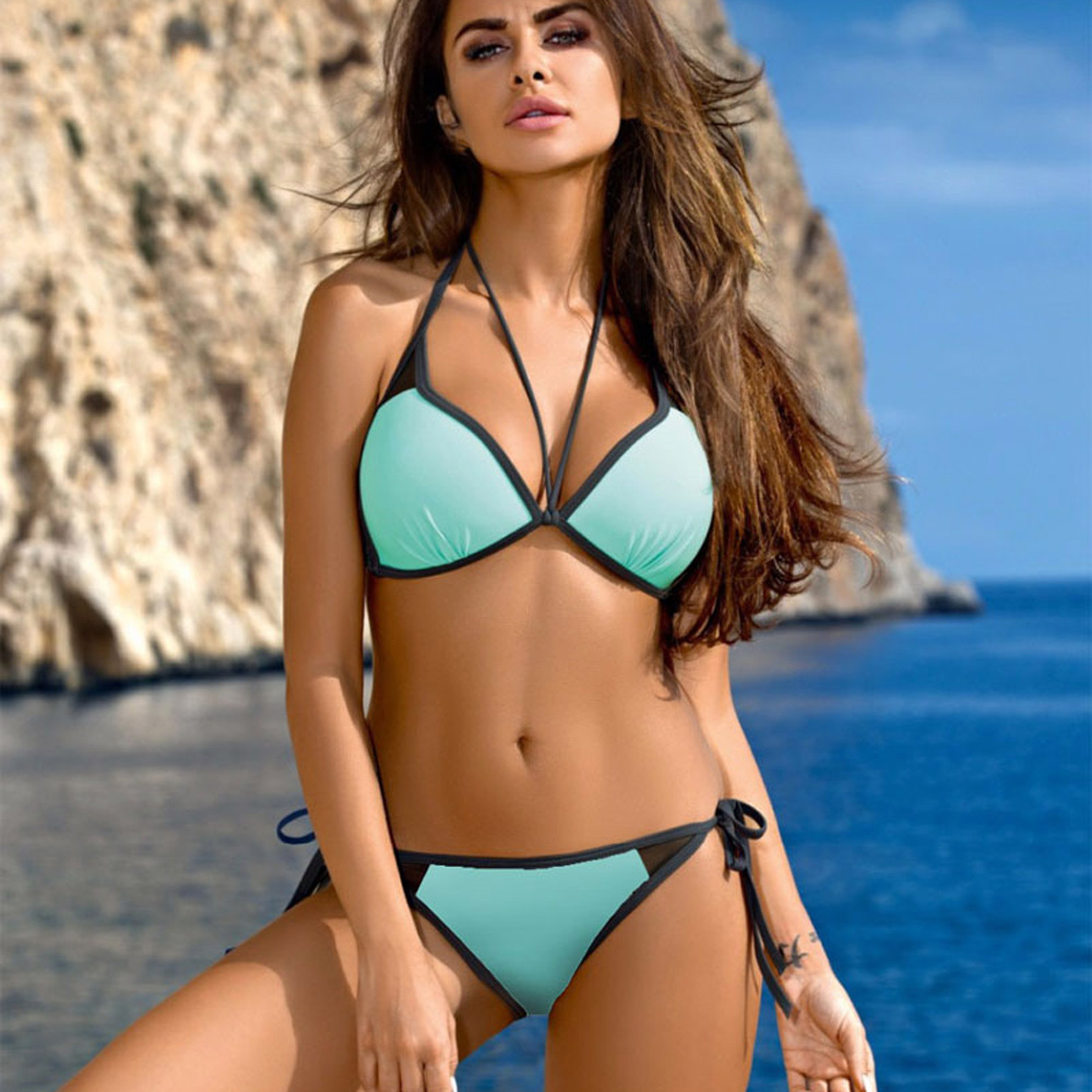 Sexy Swimsuit Women Push Up Bikinis Halter Bandage Swimwear Female Plus Size Bikini Set Low Waist Bathing Suit Swimming Wear цена