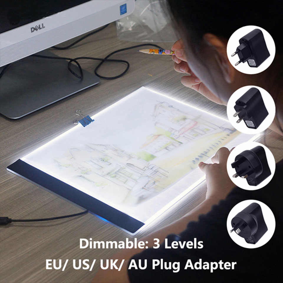 Digital Tablets A4 LED Dimmable Lightpad Diamond Painting Pad Apply to EU/UK/AU/US/USB Plug Cross Stitch Tools Ultrathin