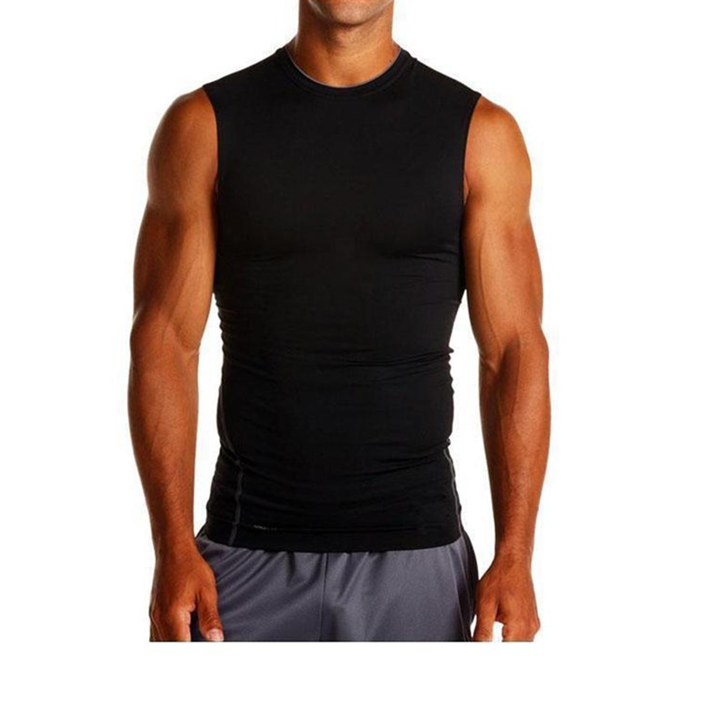 2019 New Fitness Compression Vest Men's Under Base Layer Fitness Running Jogging Workout Crew Neck Sleeveless Shirts
