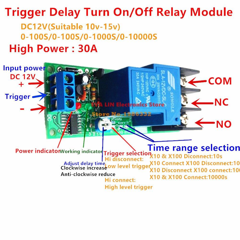 Ws16 30a Dc 12 V Zeitrelais Plc Modul Hohe Trigger Zeitverzgerung Volt Time Delay Off Relay Auf Aus Schalter 1 10000 Sekunden Einstellbar In