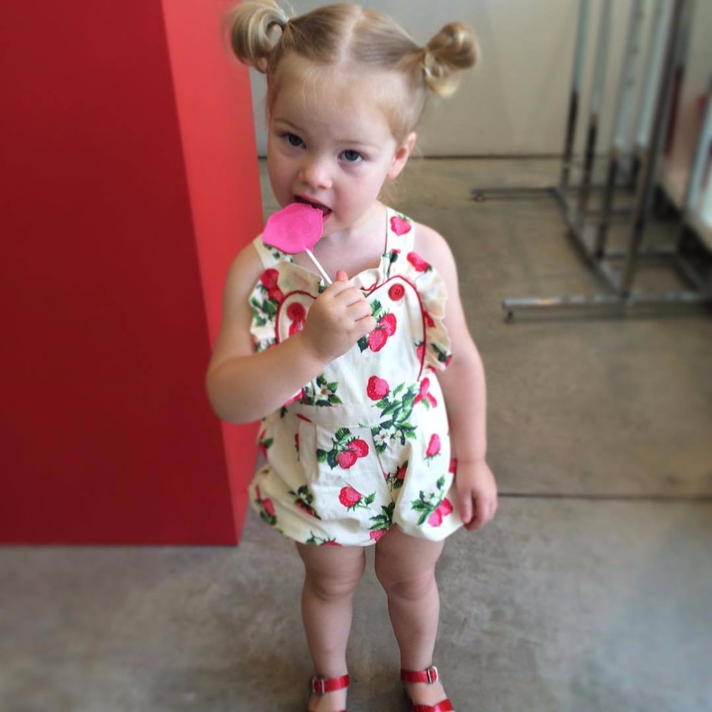 aee87a5e7 Newborn baby Romper toddler girls lovely clothes ins hot design Strawberry  printing cotton jumpsuit infant girls costume