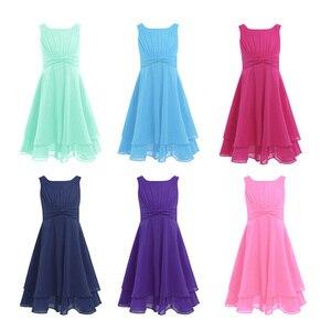 Image 2 - Iiniim פרח בנות שמלת שיפון מסוקס גבוהה מותן נסיכת שמלת ילדים נוער תחרות יום הולדת מסיבת Vestidos שמלות נשף