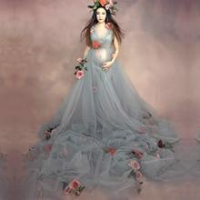 Mujeres embarazadas de maternidad Accesorios de fotografía de moda Romántica Elegante vestido largo de hadas Trailing sesión de fotos Vestido de ducha